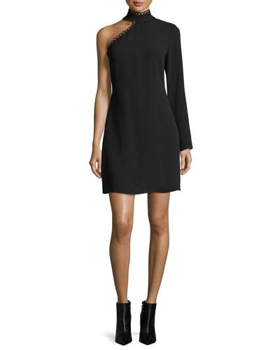 Thayer Asymmetric Long-Sleeve Mini Dress