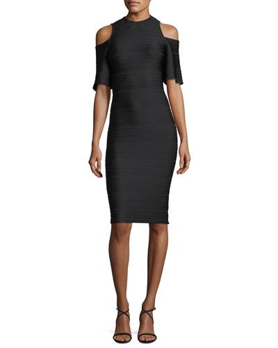 Columbus Cold-Shoulder Knee-Length Striped Dress