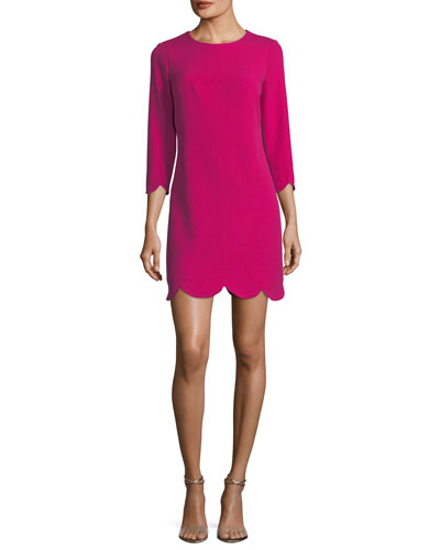 Baruch Scalloped-Hem Mini Shift Dress