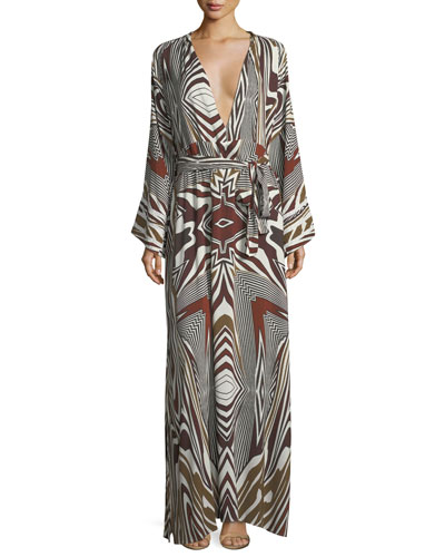 Loulou Zebra Long-Sleeve Coverup Dress, One Size