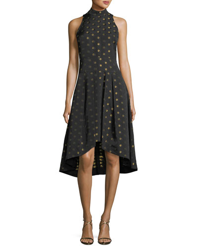 Lewis High-Low Metallic Dot Dress