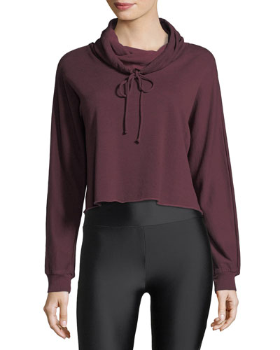 Funnel-Neck Boxy Cropped Pullover