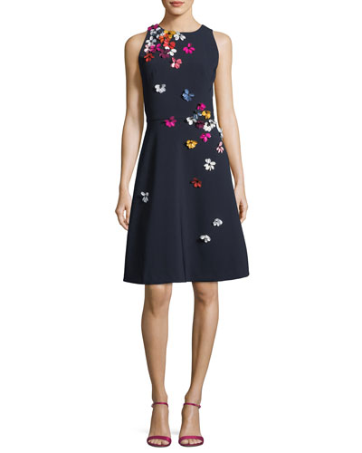 Cutaway Sleeveless 3D Floral Dress