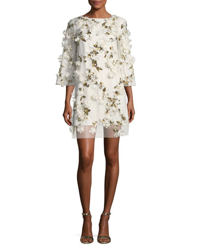 Embellished 3D Floral Sequin Tunic Cocktail Dress