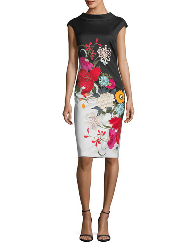 Embroidered V-Back Sheath Dress