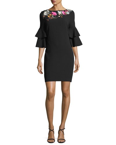 Exotic Bloom 3/4-Sleeve Dress