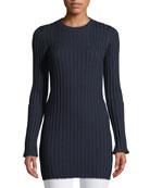Merino Ribbed Long Tunic Sweater