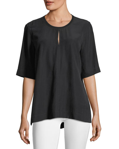Micro-Striped Silk Blouse, Black