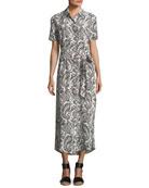 Short-Sleeve Button-Down Printed Maxi Dress