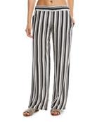 Wide-Leg Silk Striped Coverup Pants