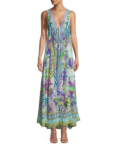 V-Neck Sleeveless Drawstring-Waist Printed Silk Dress