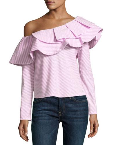 Think Fashion One-Shoulder Ruffle Pinstripe Top