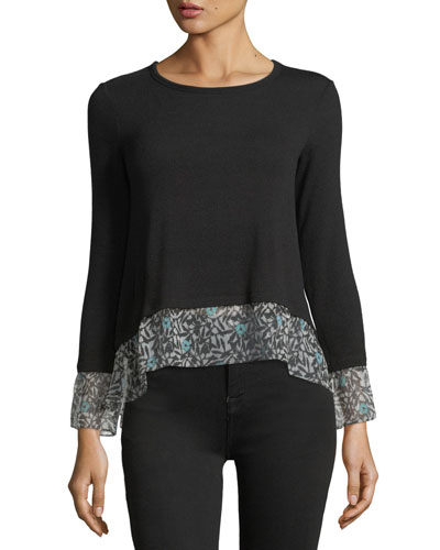 Taiko Crewneck Knit Top with Printed Chiffon Hem