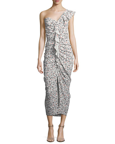 Ruffian One-Shoulder Floral-Print Midi Dress