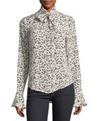 Gamble Printed Tie-Neck Blouse