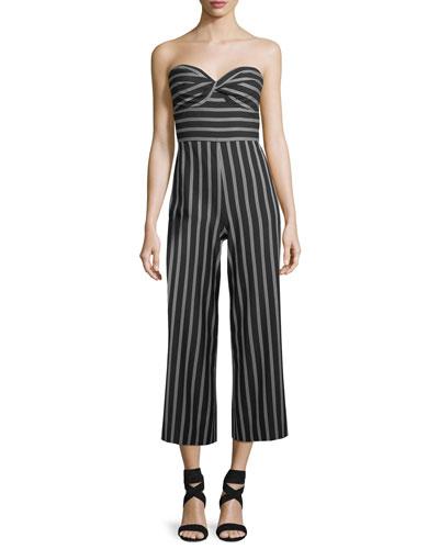 Cypress Strapless Striped Wide-Leg Jumpsuit