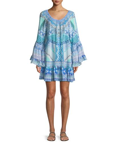 V-Neck Bell-Sleeve Printed Silk Dress