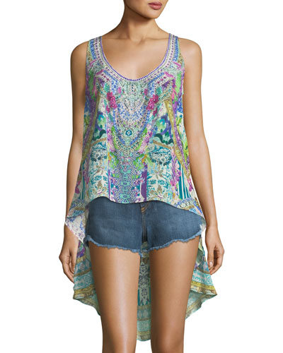 Embellished High-Low Silk Tank