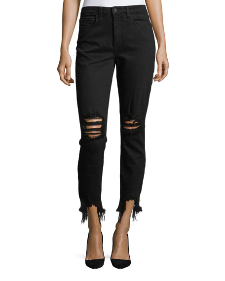 L'Agence Distressed High-Rise Skinny Ankle Jeans