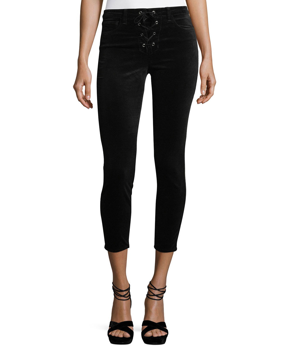 Cherie Lace-Up Skinny-Leg Cropped Velvet Pants