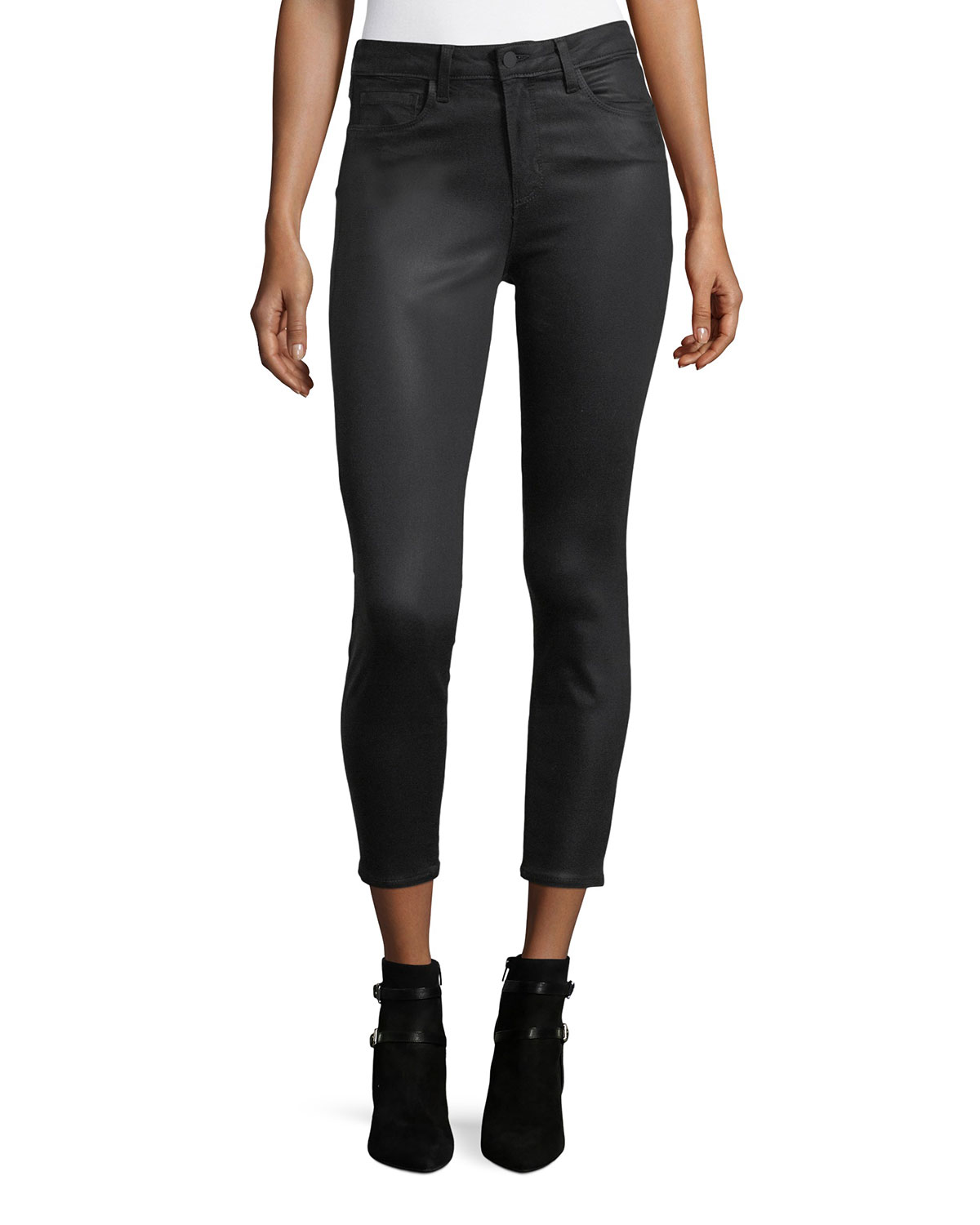 Margot Coated High-Rise Skinny Ankle Jeans