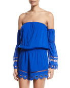 Markos Off-the-Shoulder Romper with Embroidery & Fringe
