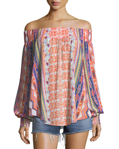 Augustine Printed Off-the-Shoulder Printed Textured Top