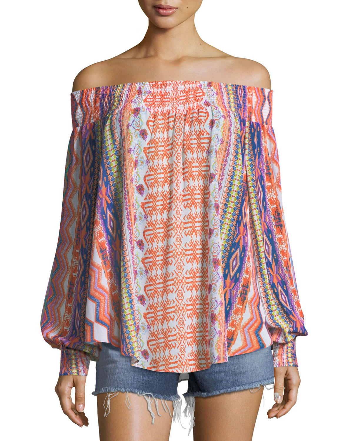 RAMY BROOK AUGUSTINE PRINTED OFF-THE-SHOULDER PRINTED TEXTURED COVERUP
