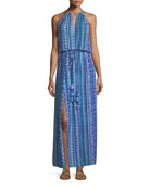 Justina Sleeveless Halter Printed Coverup Maxi Dress