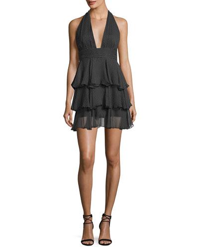 Mia Polka Dot Silk Tiered Mini Cocktail Dress