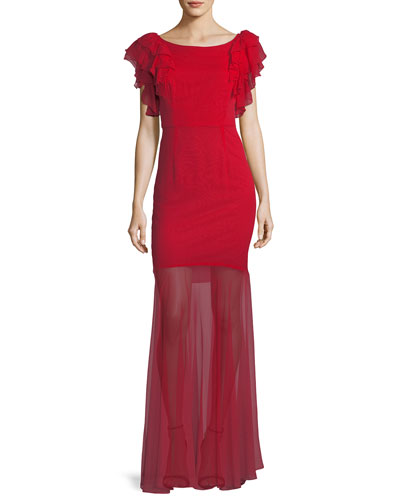 Jennie Ruffle-Sleeve Sheer-Skirt Gown