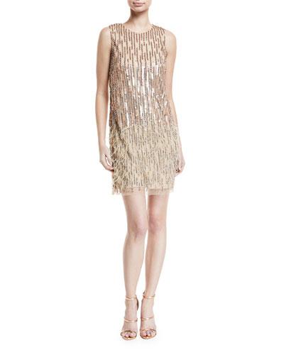 Allegra Embellished Fringe Mini Cocktail Dress