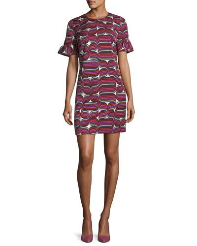 Ribbon-Print Faille Sheath Ruffle-Sleeve Dress