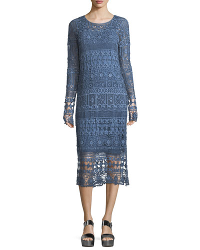 Fonda Crochet Long-Sleeve Midi Dress