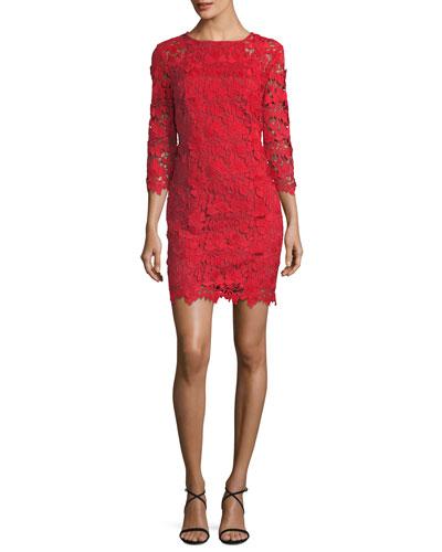3D Garden Vine Lace Mini Dress