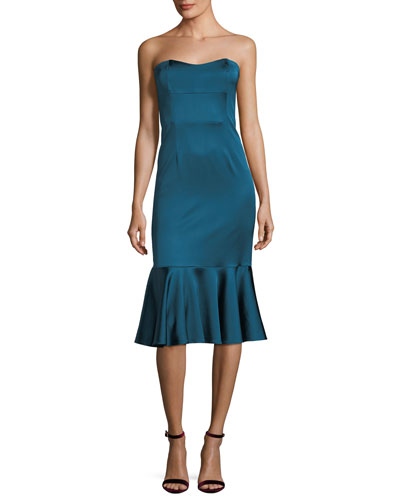 Stretch-Sheen Strapless Flounce-Hem Dress