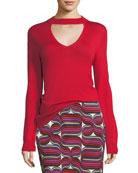 Choker Cutout V-Neck Sweater