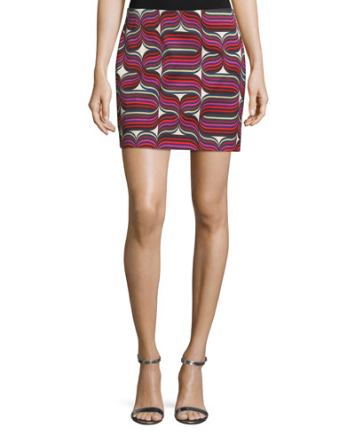 Ribbon-Print Mini Faille Skirt