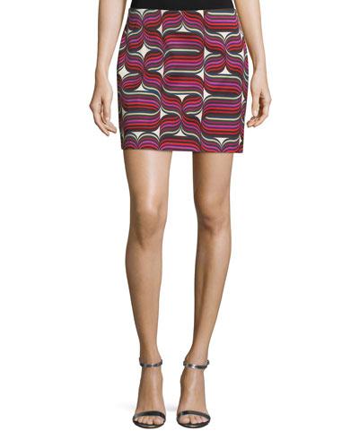 Ribbon-Print Mini Faille Skirt