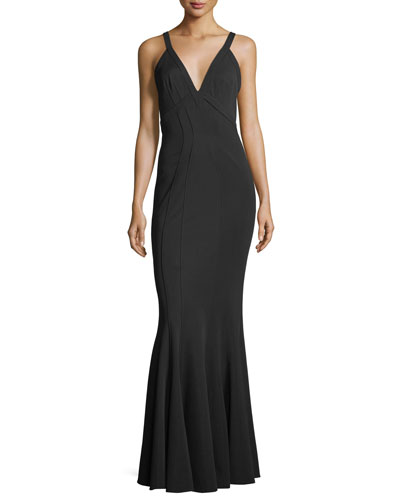 Gemma Mermaid V-Neck Sleeveless Gown