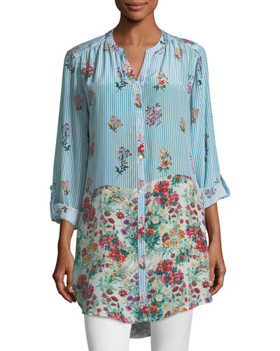 Chloe Striped Floral Button-Front Shirt, Plus Size