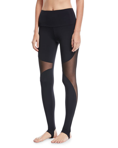 Onzie High-Rise Stirrup Leggings with Mesh