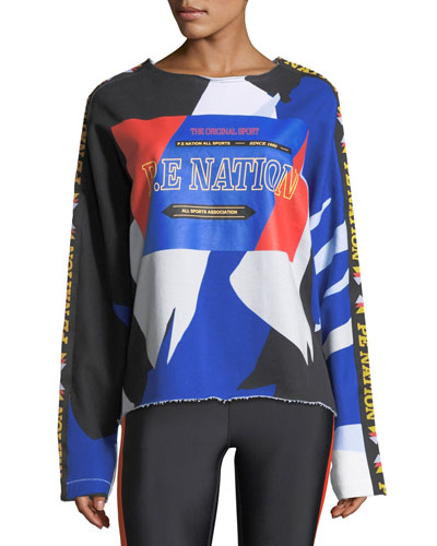 Power Shot Graphic Colorblocked Sweatshirt with Raw-Edges