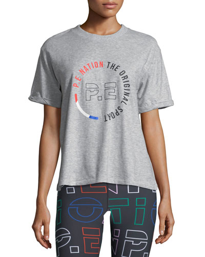 Jump-Off Crewneck Short-Sleeve Logo-Graphic Cotton Jersey Tee