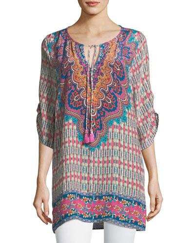Jenna Silk Border-Print Tunic, Plus Size