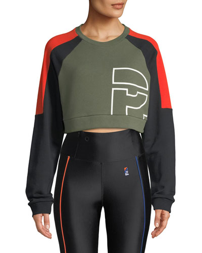 P.E. Nation All-Rounder Colorblocked Cropped Sweatshirt