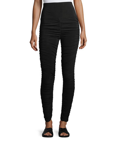 High-Waist Shirred Jersey Leggings