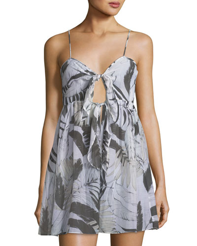 Sadie Tie-Front Printed Silk Coverup Dress