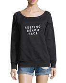 Resting Beach Face Scoop-Neck Sweatshirt