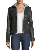 Leather Hooded Moto Jacket